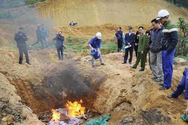 Lực lượng chức năng tỉnh Lào Cai tổ chức tiêu hủy toàn bộ số cá tầm Trung Quốc nhập lậu bị thu giữ trong ngày 10/2/2017. Ảnh Báo Lào Cai điện tử