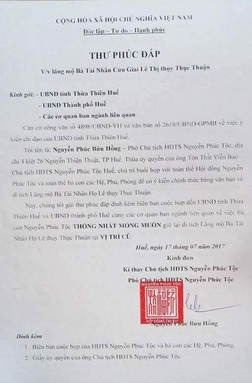 Thư phúc đáp của Nguyễn Phước tộc Huế lên tỉnh, thành phố về việc mong muốn giữ lại mộ vợ vua Tự Đức tại vị trí cũ