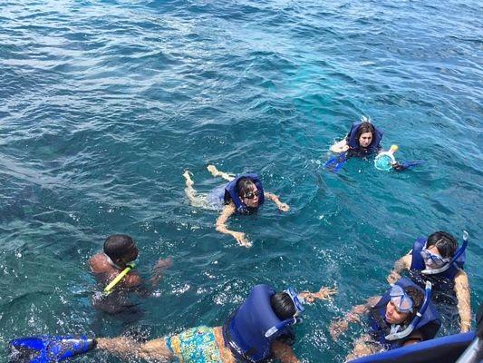 Với ống thở và cặp kính lặn, du khách nào (kể cả các bé) đều có thể lặn biển ngắm san hô và cá dưới sự hỗ trợ của nhóm rái cá biển cũng là thủy thủ đoàn người địa phương.