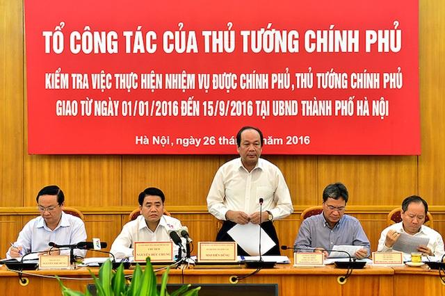 Bộ trưởng, Chủ nhiệm Văn phòng chính phủ Mai Tiến Dũng đại diện tổ công tác của Thủ tướng yêu cầu Chủ tịch UBND quận Ba Đình phải chốt thời hạn cuối cùng giải quyết dứt điểm vụ việc.
