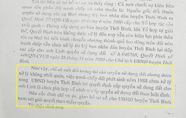 Vào năm 2003, TAND huyện Thới Bình từng thụ lý và đình chỉ vụ án, chuyển hồ sơ về UBND huyện Thới Bình giải quyết theo thẩm quyền. Tuy nhiên, vụ việc vẫn không được xử lý dứt điểm.