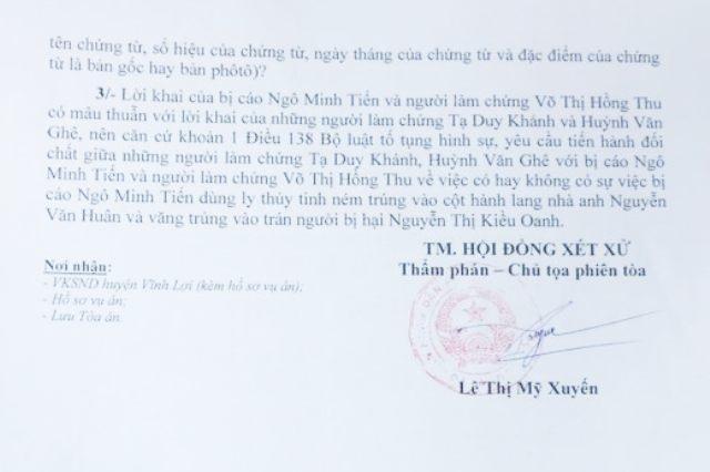 Quyết định trả hồ sơ vụ án Cố ý gây thương tích cho Viện kiểm sát để điều tra bổ sung của TAND huyện Vĩnh Lợi.