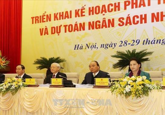 Lãnh đạo Đảng, Nhà nước, Quốc hội dự phiên họp của Chính phủ (Ảnh: TTXVN)