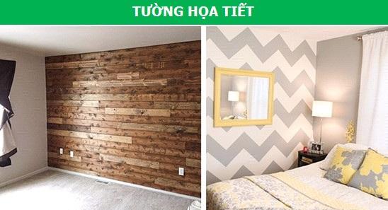 """Để làm căn phòng có thêm điểm nhấn và chất phá cách, bạn không cần thiết phải """"tô điểm"""" lên cả 4 bức tường, mà hãy chọn ra 1 bức tường chủ đạo, thường là bức ở vị trí đối diện cửa ra vào, để trang hoàng nó bằng giấy gián tường, tranh ảnh, đề can hay thậm chí là ốp gỗ."""