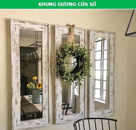 """Gương trang trí kết hợp khung cửa sổ sẽ là một điểm nhấn """"đậm chất vintage"""" ngôi nhà của bạn. Bên cạnh chức năng """"làm đẹp"""", những chiếc gương này còn tạo hiệu ứng nhân đôi kích thước của không gian."""