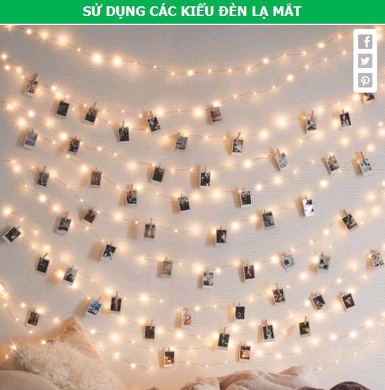 Sử dụng thêm các kiểu bóng đèn lạ mắt để tạo ra nguồn sáng trong nhà, thay cho việc chỉ dùng mỗi bóng đèn tuýp. Từ đó, thêm vào nét độc đáo cho không gian. Kiểu đèn dây treo ảnh như ở trên là một gợi ý không thể bỏ qua, cho những ai muốn có một căn phòng đậm nét nghệ thuật.