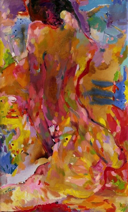 Tranh nude của nữ tác giả Lê Thị Minh Tâm. Ảnh: LTC.
