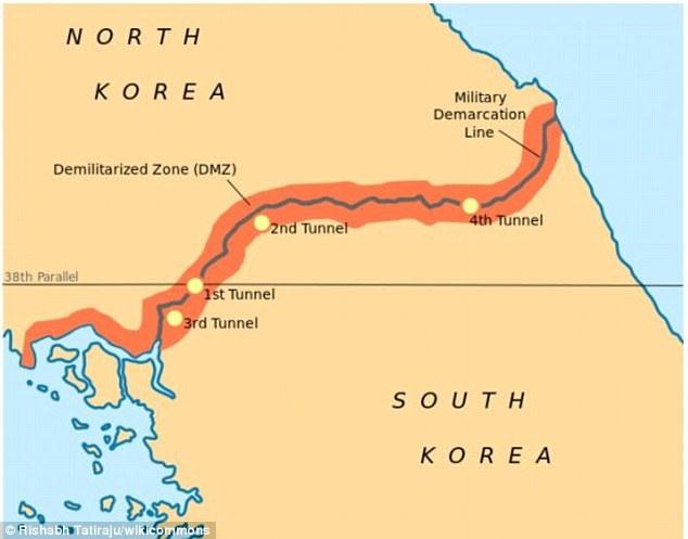 """Theo Dailymail, trang web chuyên về kiến trúc 99% Invisible đã chỉ ra những công dụng đặc biệt của những """"cấu trúc lạ"""" được xây dựng ở dọc khu phi quân sự (DMZ) giữa Triều Tiên và Hàn Quốc. Những cấu trúc này được cho là nhằm hỗ trợ quân đội hai nước trong trường hợp xảy ra xung đột. Trong ảnh: Bản đồ khu vực DMZ giữa Triều Tiên và Hàn Quốc (Ảnh: Wikicommons)"""