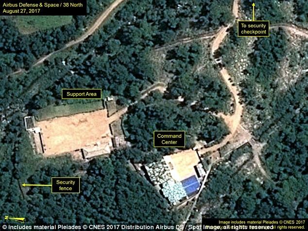 Ảnh vệ tinh chụp ngày 27/8 tại bãi thử hạt nhân Punggye-ri của Triều Tiên (Ảnh: 38 North)