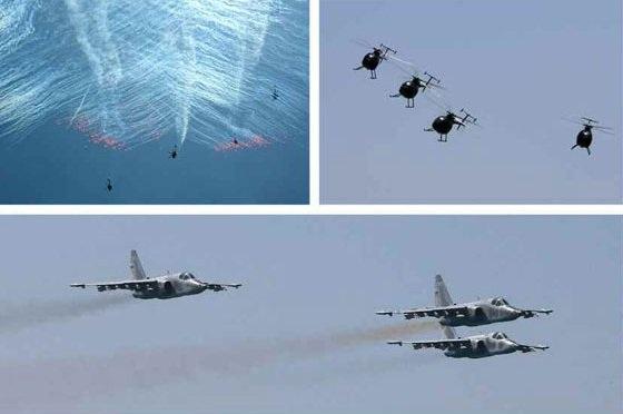 Phi đội trực thăng MD 530F di chuyển theo đội hình trong cuộc thi hôm 4/6 (Ảnh: Rodong Sinmun)