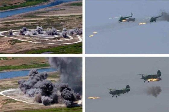 Các trực thăng Mil Mi-2 và AN-2 phô diễn kỹ năng tấn công mục tiêu mặt đất (Ảnh: Rodong Sinmun)
