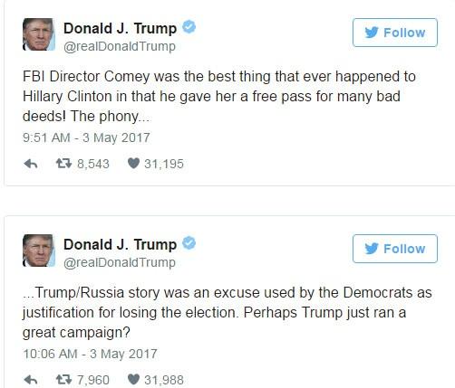 Ông Trump ngay lập tức đáp trả bà Clinton trên mạng xã hội Twitter