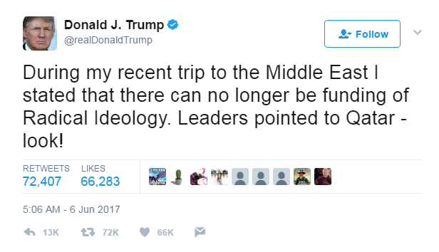 Tổng thống Mỹ Donald Trump lên tiếng trên mạng xã hội, ủng hộ các biện pháp cô lập Qatar