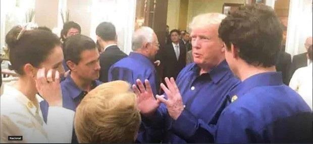 Tổng thống Donald Trump (thứ hai từ phải qua) trò chuyện cùng Thủ tướng Justin Trudaeu (ngoài cùng bên phải) và Thủ tướng Jacinda Ardern (ngoài cùng bên trái) bên lề hội nghị APEC tại Việt Nam (Ảnh: NZ Herald)