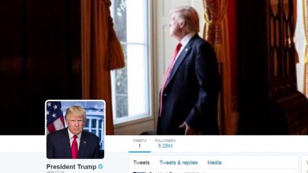 Ảnh bìa Twitter của Tổng thống Trump đã được đổi lại sau sự cố nhầm lẫn (Ảnh: BBC)