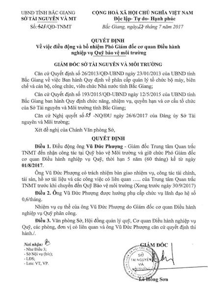 Hình thức kỷ luật mà bạn đọc Dân trí cho là kiểu đánh bùn sang ao của Sở Tài Nguyên Môi trường tỉnh Bắc Giang.