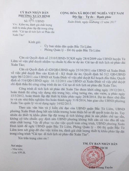 Văn bản cầu cứu của UBND phường Xuân Đỉnh gửi quận UBND quận Bắc Từ Liêm.