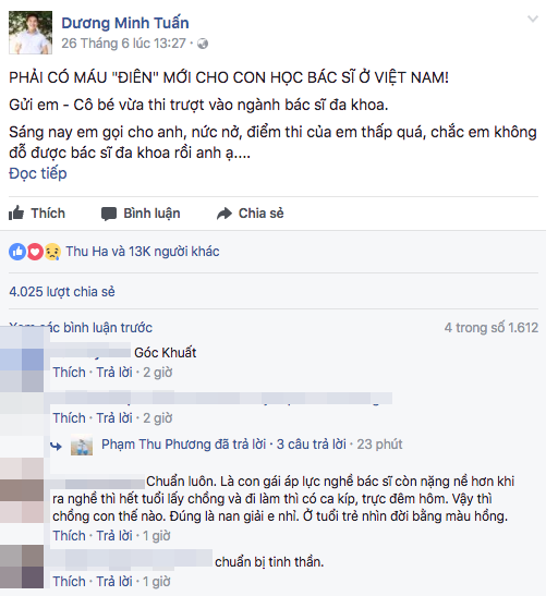 Bài viết của bác sĩ Minh Tuấn gây bão mạng