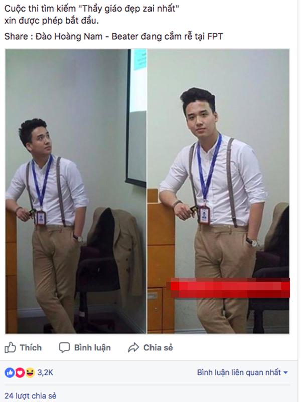 Thầy giáo Sơn Tùng được học trò khoe trên Facebook vì đẹp trai.