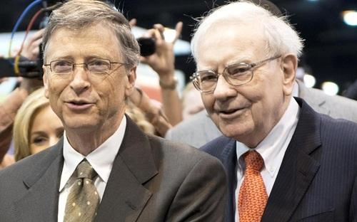 Hai tỷ phú giàu nhất nước Mỹ Bill Gates (trái) và Warren Buffett.