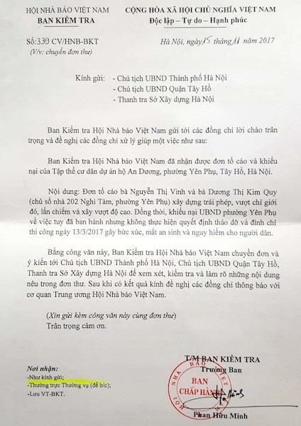 Ban kiểm tra Hội nhà báo Việt Nam đề nghị xử lý tố cáo vi phạm trật tự xây dựng.