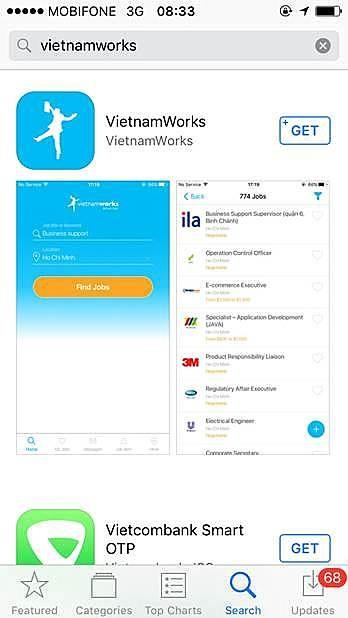 Ứng dụng tìm việc trên smartphone của Vietnamworks.