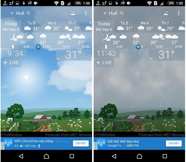 Giao diện khác nhau khi trời đang nắng và khi trời đổ mưa