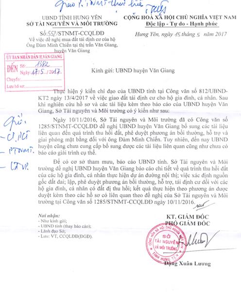 Sở TN&MT tỉnh Hưng Yên lên tiếng về việc xin giao đất tái định cư của người dân.