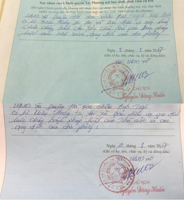 Nội dung hai văn bản chính quyền xã Duyên Hà bút phê vào sơ yếu lý lịch của em Ngô V.A