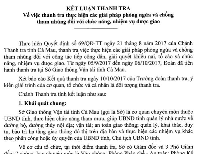 Kết luận của Thanh tra Nhà nước tỉnh Cà Mau đối với Sở Giao thông tỉnh Cà Mau.