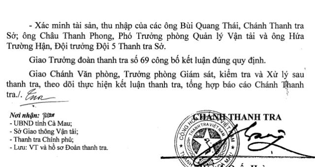 Thanh tra Nhà nước kiến nghị Giám đốc Sở GTVT tiến hành xác minh tài sản, thu nhập của các ông: Bùi Quang Thái (Chánh Thanh tra Sở GTVT), ông Châu Thanh Phong (Phó trưởng Phòng Quản lý vận tải) và ông Hứa Trường Hận (Đội trưởng Đội 5, Thanh tra Sở).