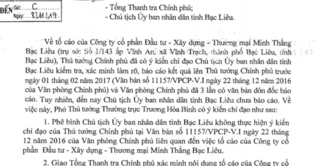 Văn bản truyền đạt ý kiến phê bình Chủ tịch tỉnh Bạc Liêu của Phó Thủ tướng Chính phủ.