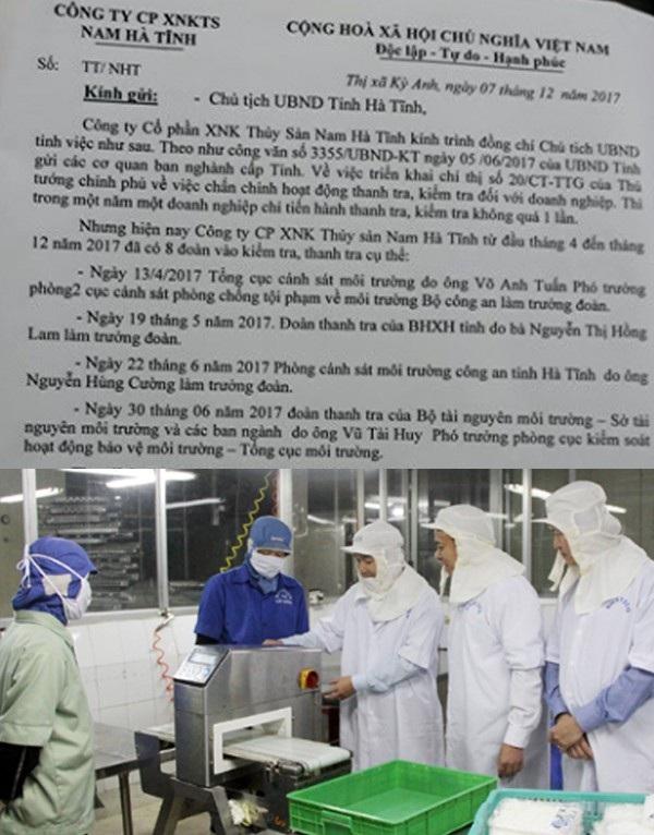 Văn bản liệt lê các đoàn thanh kiểm tra của tỉnh độ bộ xuống Công ty CP XNK Thủy sản Nam Hà Tĩnh mà vị giám đốc công ty này gửi Chủ tịch UBND tỉnh Hà Tĩnh.