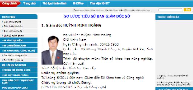 Trên Cổng thông tin điện tử Sở KH&CN tỉnh Bạc Liêu, ông Huỳnh Minh Hoàng vẫn là Giám đốc và là Bí thư Chi bộ. (Ảnh chụp ngày 30/11)