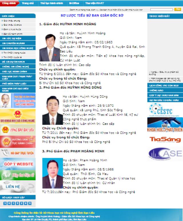 Trên Cổng thông tin điện tử của Sở KH&CN tỉnh Bạc Liêu, hiện nay ông Huỳnh Minh Hoàng vẫn là Giám đốc Sở. (Ảnh chụp chiều ngày 1/10/2017).