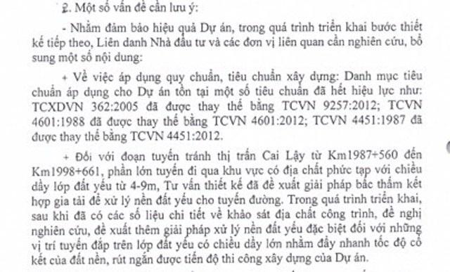 Một đoạn trong văn bản về ý của Bộ Xây dựng liên quan đến việc xây dựng đường tránh Cai Lậy