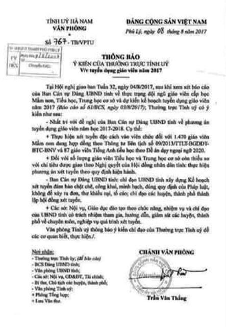 Văn bản thông báo về ý kiến chỉ đạo của Thường trực Tỉnh ủy đối với việc tuyển dụng giáo viên năm 2017 trên địa bàn tỉnh Hà Nam