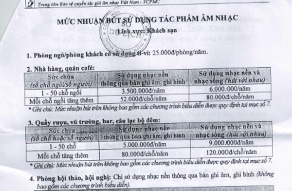 Sở Du lịch Đà Nẵng thông báo về việc VCPMC yêu cầu các khách sạn đóng phí tác quyền âm nhạc hồi tháng 5/2017