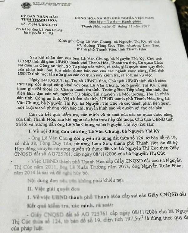 Công văn Chủ tịch UBND tỉnh Thanh Hóa trả lời gia đình ông Lê Văn Chung và bà Nguyễn Thị Kỳ.
