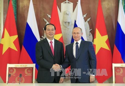 Chủ tịch nước Trần Đại Quang và Tổng thống Nga Vladimir Putin đánh giá tình hình và triển vọng tiếp tục củng cố quan hệ Đối tác chiến lược toàn diện giữa Việt Nam và Nga (ảnh: TTXVN)