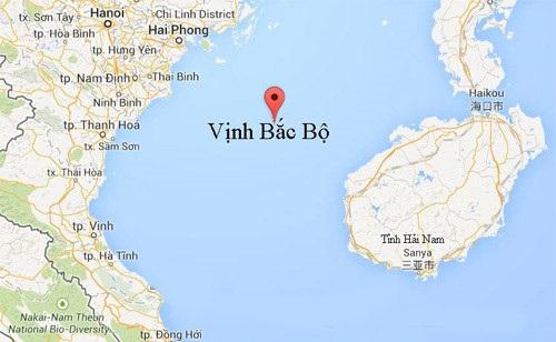 Vịnh Bắc Bộ nằm giữa Việt Nam và Trung Quốc (Đồ họa: Google map)