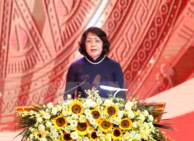 Phó Chủ tịch nước Đặng Thị Ngọc Thịnh, Phó Chủ tịch Hội đồng Thi đua-Khen thưởng Trung ương phát biểu. (Ảnh: Doãn Tấn/TTXVN)