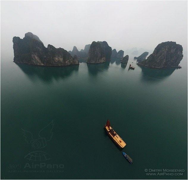 Hình ảnh vịnh Hạ Long nhìn từ trên cao do nhóm AirPano chia sẻ hình ảnh