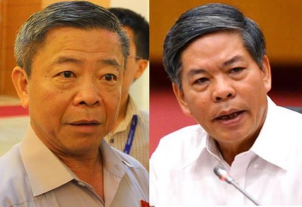 Hai ông Võ Kim Cự (trái), Nguyễn Minh Quang chính thức nhận quyết định kỷ luật về Đảng
