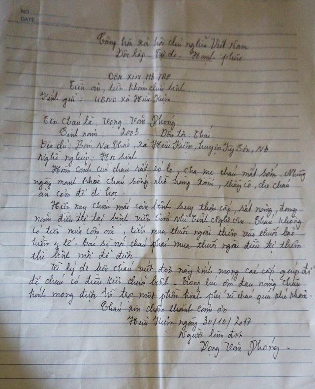 Lá thư xin hỗ trợ của cậu học trò người Thái nghèo. Đối với em thì mẹ đã chết, em được người thân, thầy cô, bạn bè cưu mang