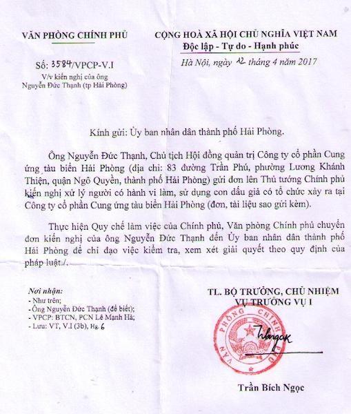 Văn phòng Chính phủ tiếp tục chuyển đơn đề nghị giải quyết vụ làm, sử dụng con dấu giả.
