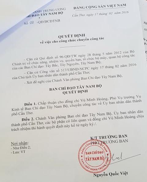 Quyết định điều chuyển công tác ông Vũ Minh Hoàng từ Ban chỉ đạo Tây Nam Bộ về UBND TP Cần Thơ