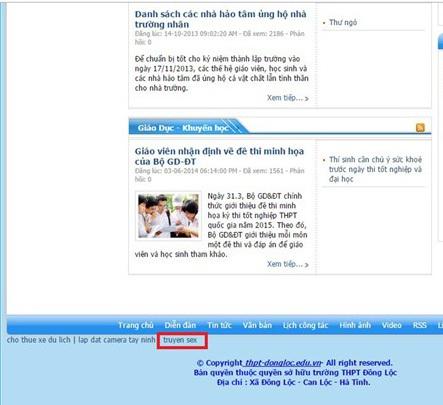 website THPT Đồng Lộc bị chèn thông tin khiếm nhã