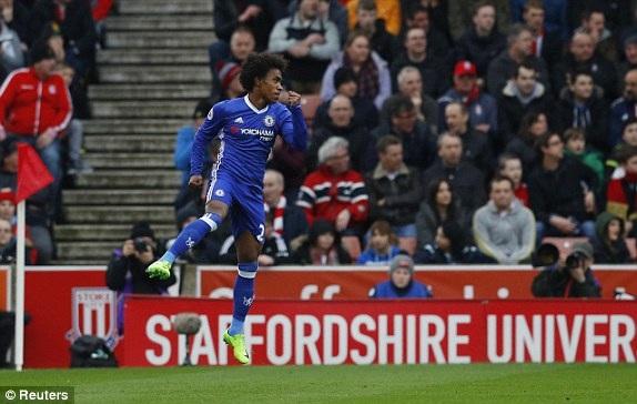 Willian ăn mừng bàn thắng