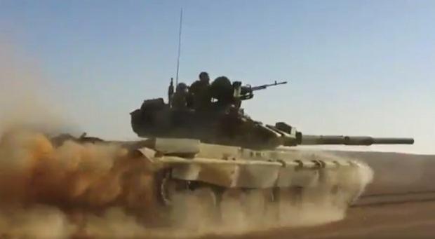 Xe tăng T-90 của quân đội Syria. (Ảnh: Sputnik)